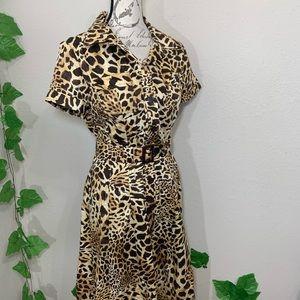 Jones NY Leopard Animal Print Feline Button Dress
